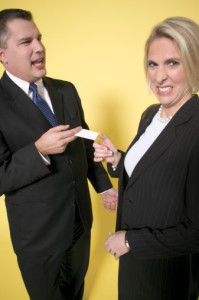 Bad Networking between two people exchanging business cards