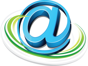 Email @ Symbol All Swirly in Blue and Green