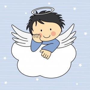 Cartoon angel sitting on a cloud, waiting