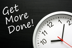 Image of a clock and a blackboard that says Get More Done!